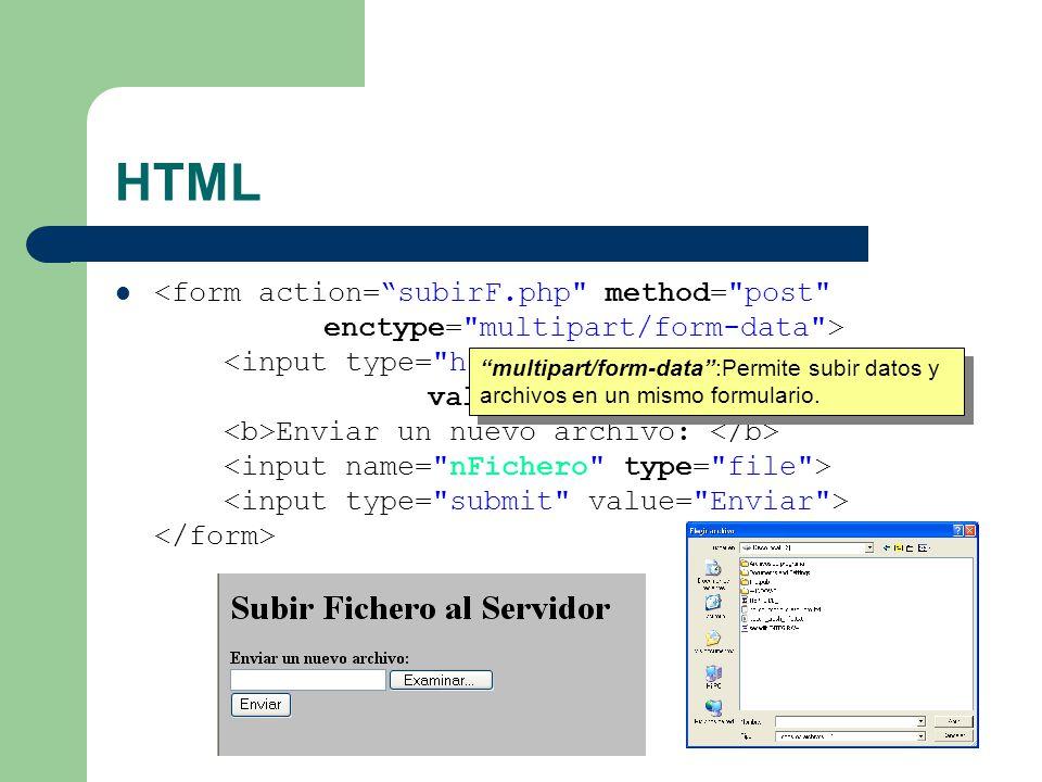 Envío de múltiples ficheros A partir de la versión 3.0.10 HTML PHP $HTTP_POST_FILES[nFichero][name][0]; $HTTP_POST_FILES[nFichero][name][1];