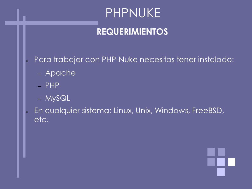 REQUERIMIENTOS Para trabajar con PHP-Nuke necesitas tener instalado: – Apache – PHP – MySQL En cualquier sistema: Linux, Unix, Windows, FreeBSD, etc.