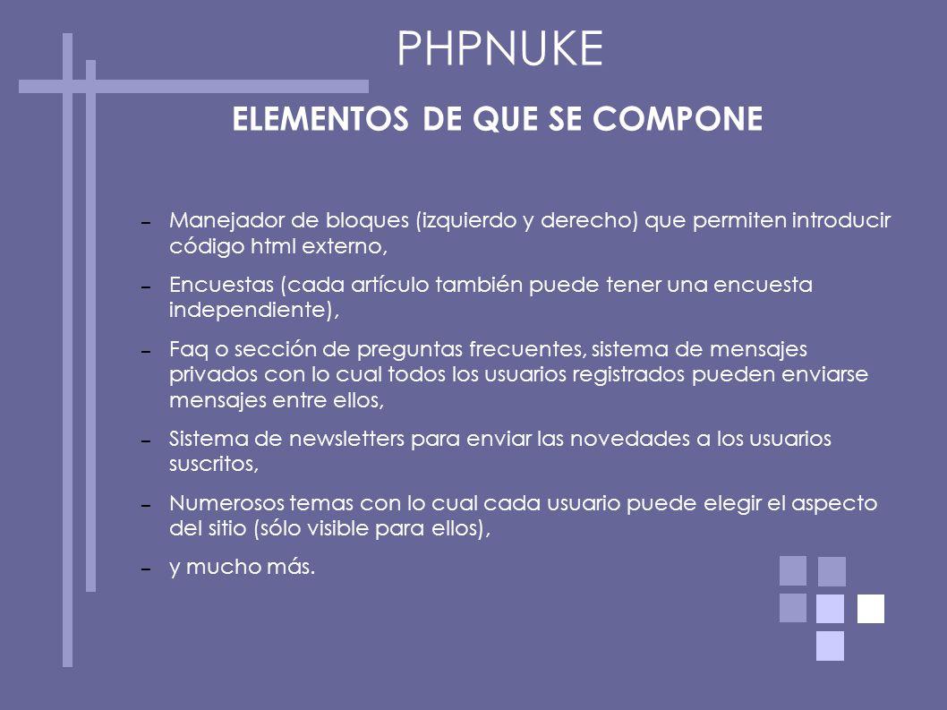 ELEMENTOS DE QUE SE COMPONE – Manejador de bloques (izquierdo y derecho) que permiten introducir código html externo, – Encuestas (cada artículo tambi