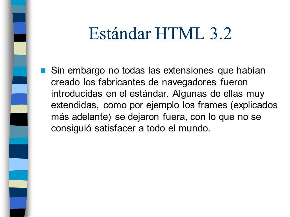 Estándar HTML 3.2 Sin embargo no todas las extensiones que habían creado los fabricantes de navegadores fueron introducidas en el estándar. Algunas de