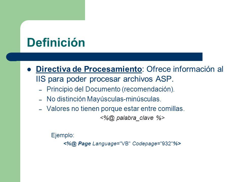 Definición Directiva de Procesamiento: Ofrece información al IIS para poder procesar archivos ASP.