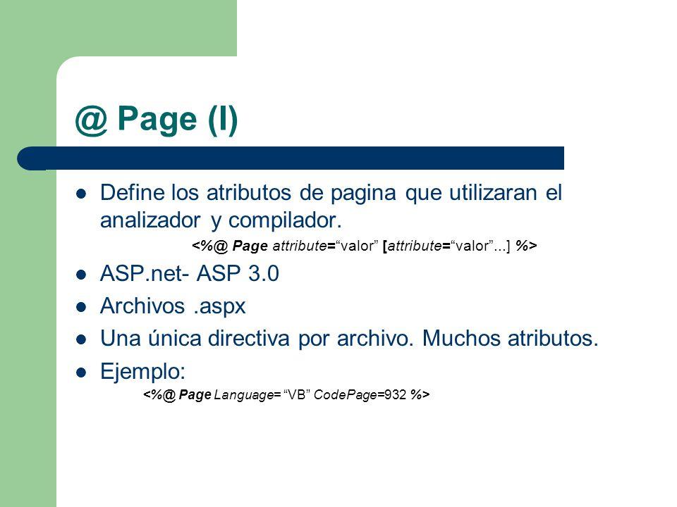 @ Page (I) Define los atributos de pagina que utilizaran el analizador y compilador.