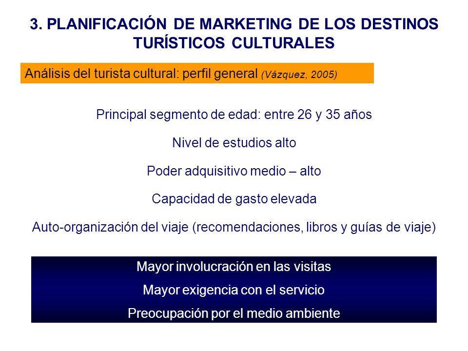 3. PLANIFICACIÓN DE MARKETING DE LOS DESTINOS TURÍSTICOS CULTURALES Análisis del turista cultural: perfil general (Vázquez, 2005) Principal segmento d
