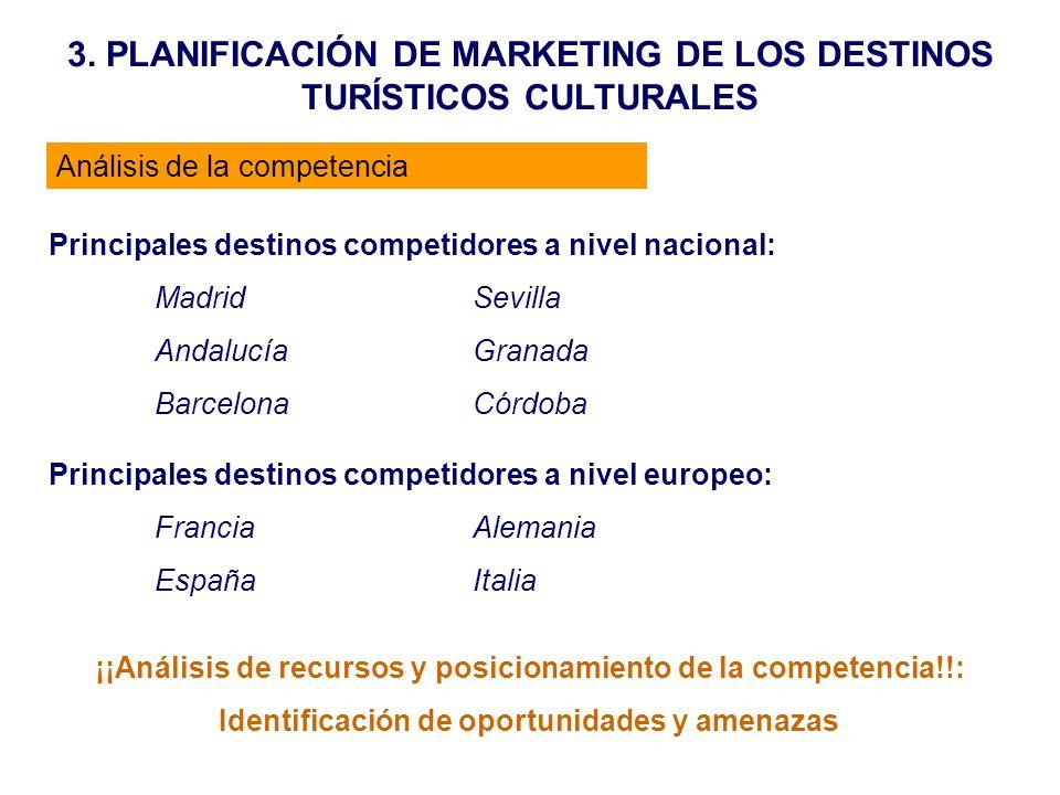 3. PLANIFICACIÓN DE MARKETING DE LOS DESTINOS TURÍSTICOS CULTURALES Análisis de la competencia Principales destinos competidores a nivel nacional: Mad
