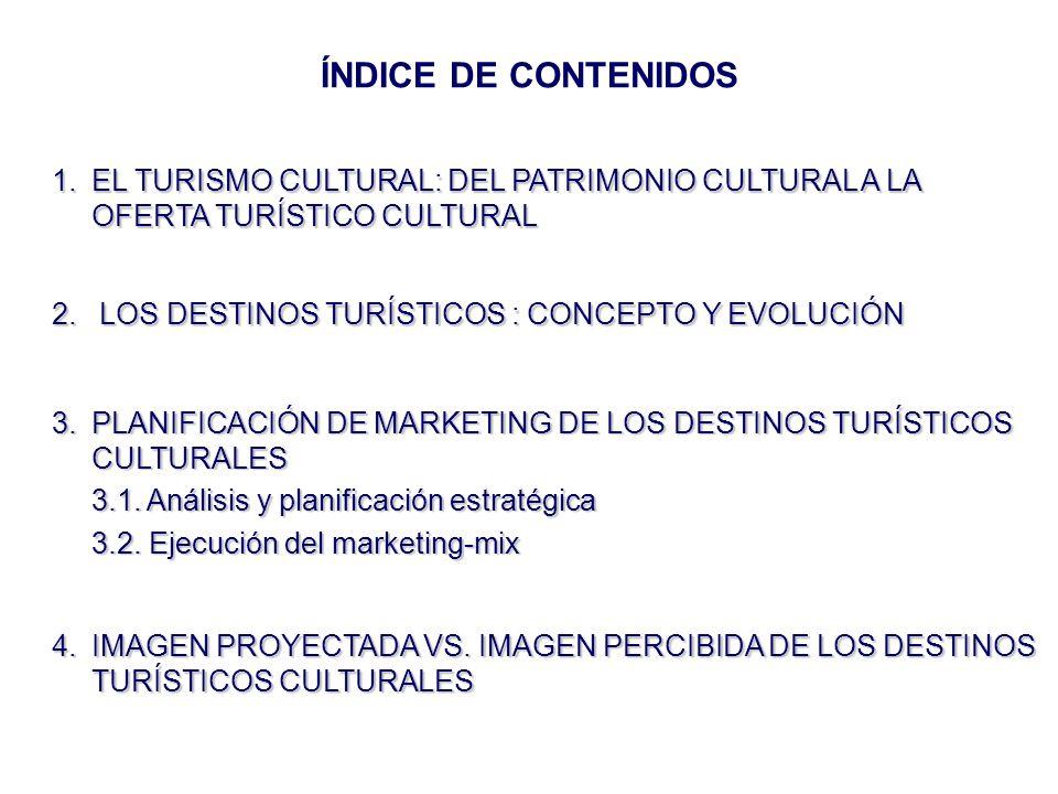 1.EL TURISMO CULTURAL: DEL PATRIMONIO CULTURAL A LA OFERTA TURÍSTICO CULTURAL ÍNDICE DE CONTENIDOS 2. LOS DESTINOS TURÍSTICOS : CONCEPTO Y EVOLUCIÓN 3