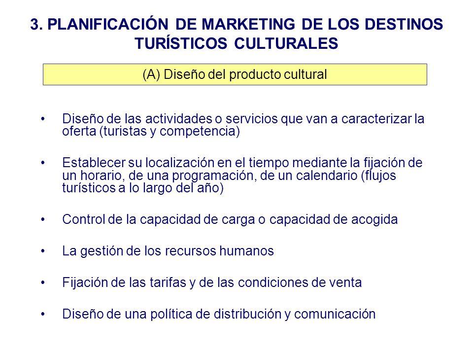 3. PLANIFICACIÓN DE MARKETING DE LOS DESTINOS TURÍSTICOS CULTURALES Diseño de las actividades o servicios que van a caracterizar la oferta (turistas y
