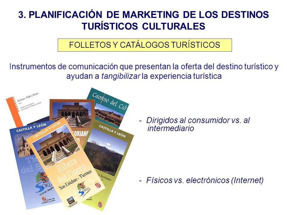 3. PLANIFICACIÓN DE MARKETING DE LOS DESTINOS TURÍSTICOS CULTURALES FOLLETOS Y CATÁLOGOS TURÍSTICOS Instrumentos de comunicación que presentan la ofer