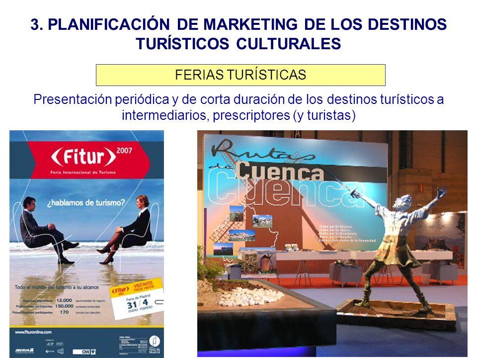 3. PLANIFICACIÓN DE MARKETING DE LOS DESTINOS TURÍSTICOS CULTURALES Presentación periódica y de corta duración de los destinos turísticos a intermedia