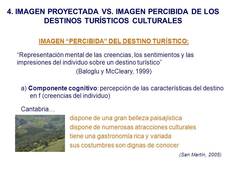 4. IMAGEN PROYECTADA VS. IMAGEN PERCIBIDA DE LOS DESTINOS TURÍSTICOS CULTURALES IMAGEN PERCIBIDA DEL DESTINO TURÍSTICO: Representación mental de las c