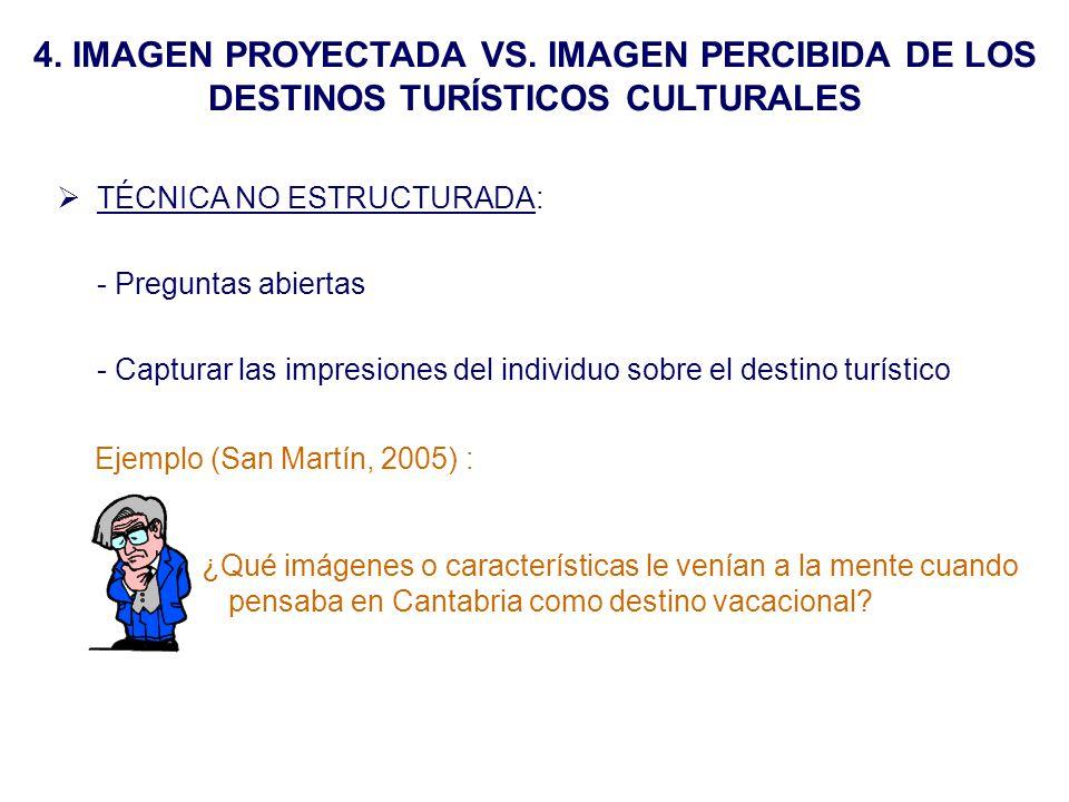 4. IMAGEN PROYECTADA VS. IMAGEN PERCIBIDA DE LOS DESTINOS TURÍSTICOS CULTURALES TÉCNICA NO ESTRUCTURADA: - Preguntas abiertas - Capturar las impresion