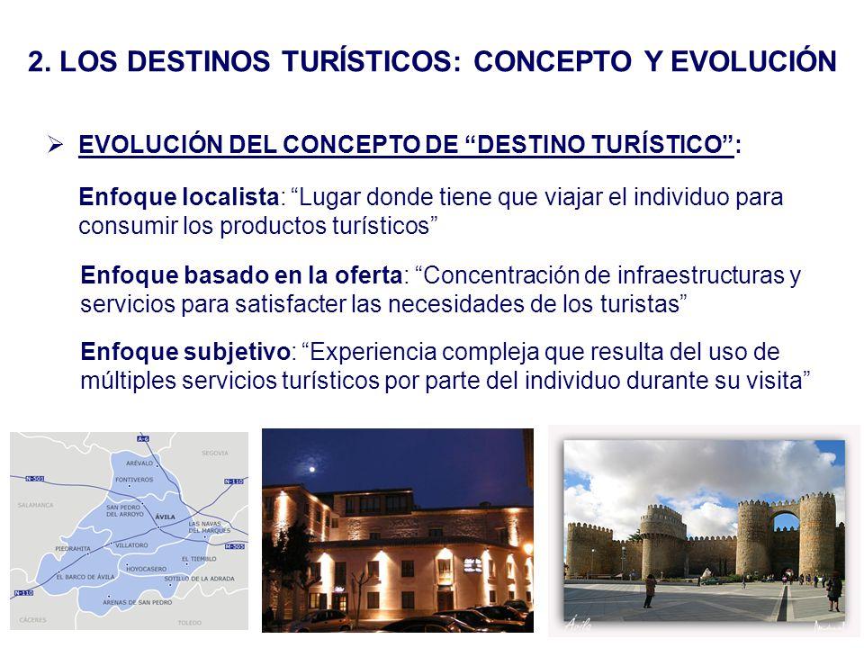 2. LOS DESTINOS TURÍSTICOS: CONCEPTO Y EVOLUCIÓN EVOLUCIÓN DEL CONCEPTO DE DESTINO TURÍSTICO: Enfoque localista: Lugar donde tiene que viajar el indiv