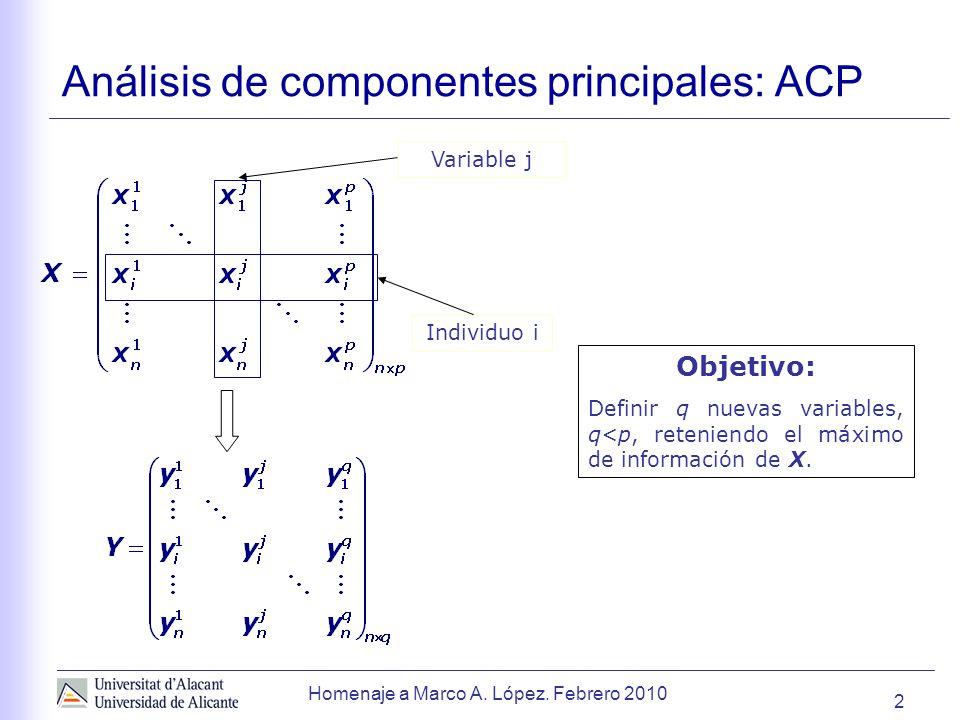 2 Análisis de componentes principales: ACP Objetivo: Definir q nuevas variables, q<p, reteniendo el máximo de información de X.