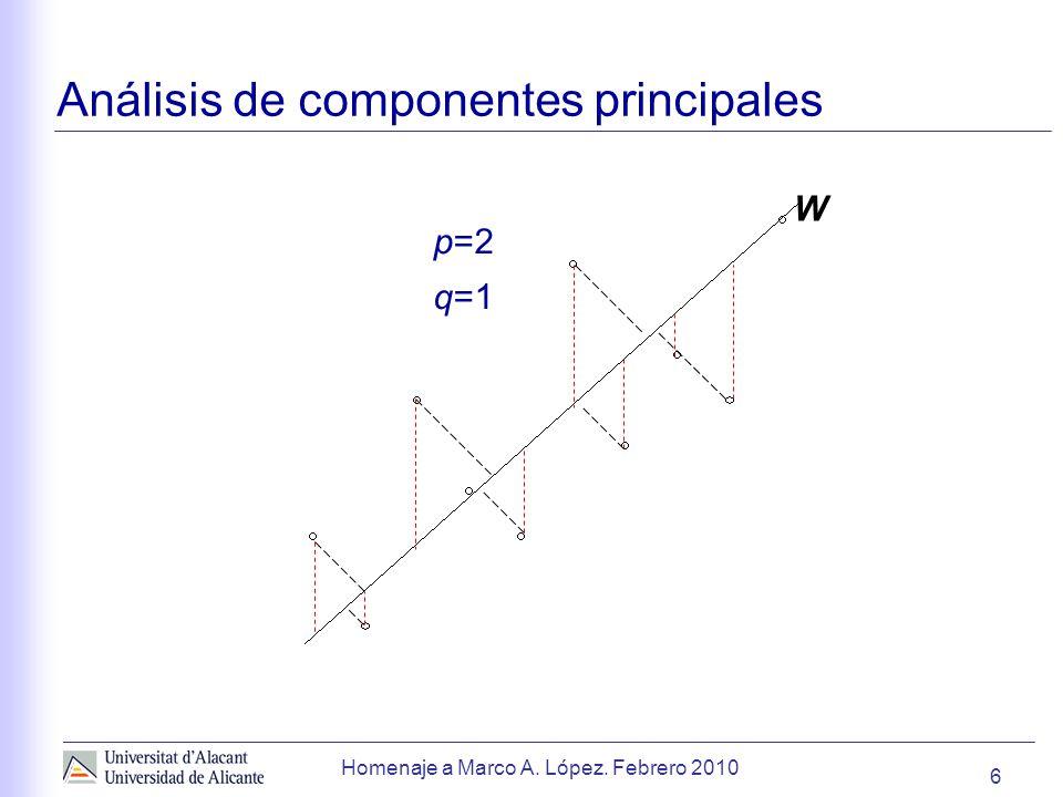 6 Homenaje a Marco A. López. Febrero 2010 Análisis de componentes principales p=2 q=1 W