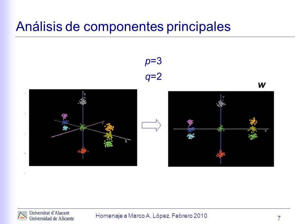 7 Homenaje a Marco A. López. Febrero 2010 Análisis de componentes principales p=3 q=2 w