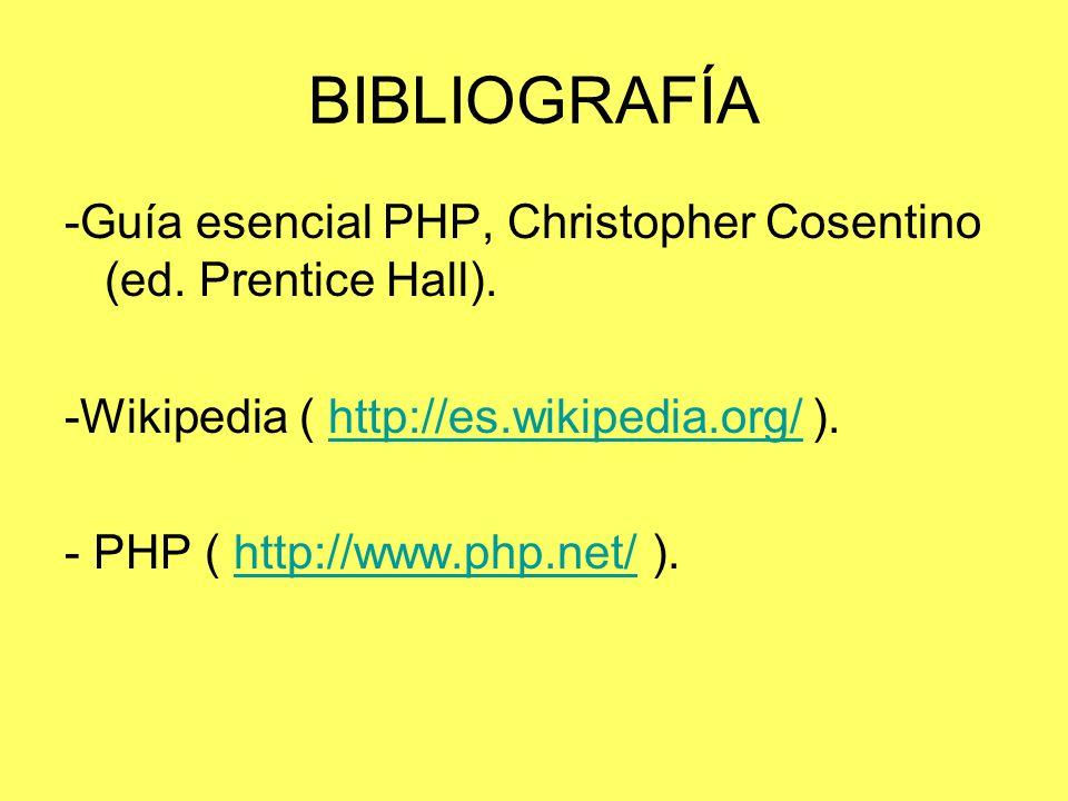 BIBLIOGRAFÍA -Guía esencial PHP, Christopher Cosentino (ed. Prentice Hall). -Wikipedia ( http://es.wikipedia.org/ ).http://es.wikipedia.org/ - PHP ( h