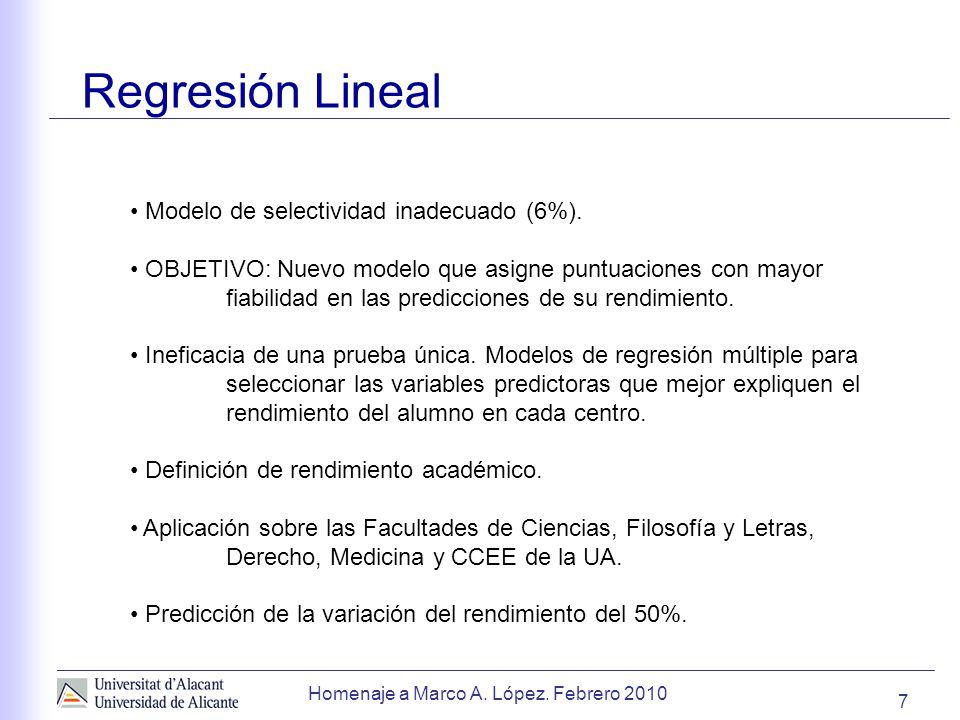 Homenaje a Marco A.López. Febrero 2010 Regresión Lineal 7 Modelo de selectividad inadecuado (6%).