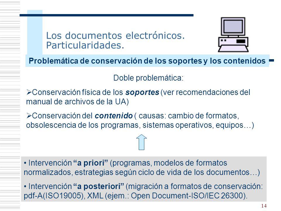 14 Los documentos electrónicos. Particularidades. Doble problemática: Conservación física de los soportes (ver recomendaciones del manual de archivos