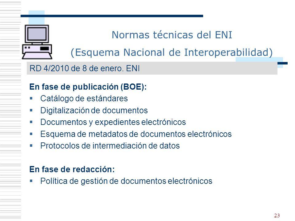 23 En fase de publicación (BOE): Catálogo de estándares Digitalización de documentos Documentos y expedientes electrónicos Esquema de metadatos de doc