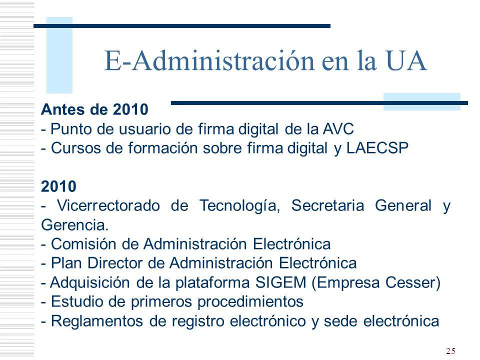 25 E-Administración en la UA Antes de 2010 - Punto de usuario de firma digital de la AVC - Cursos de formación sobre firma digital y LAECSP 2010 - Vicerrectorado de Tecnología, Secretaria General y Gerencia.