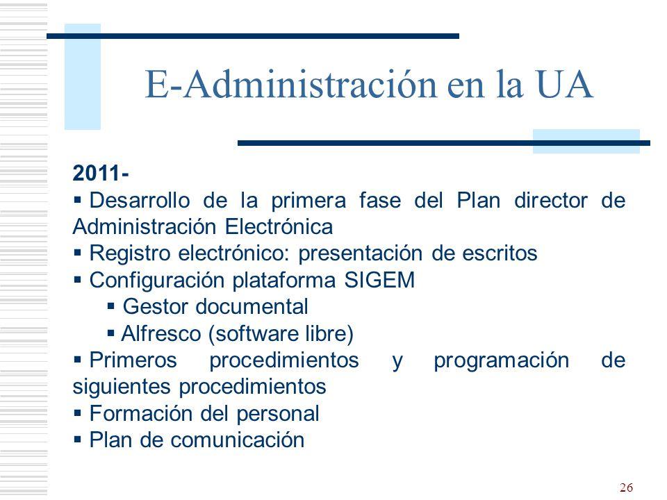 26 E-Administración en la UA 2011- Desarrollo de la primera fase del Plan director de Administración Electrónica Registro electrónico: presentación de