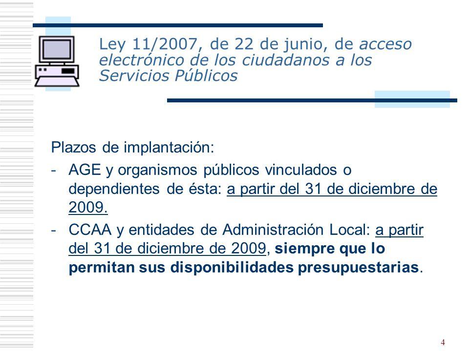 4 Ley 11/2007, de 22 de junio, de acceso electrónico de los ciudadanos a los Servicios Públicos Plazos de implantación: -AGE y organismos públicos vin