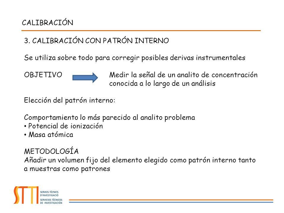 CALIBRACIÓN 3. CALIBRACIÓN CON PATRÓN INTERNO Se utiliza sobre todo para corregir posibles derivas instrumentales OBJETIVO Medir la señal de un analit