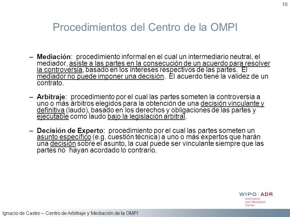Ignacio de Castro – Centro de Arbitraje y Mediación de la OMPI 10 Procedimientos del Centro de la OMPI –Mediación: procedimiento informal en el cual u