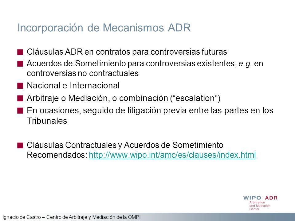 Ignacio de Castro – Centro de Arbitraje y Mediación de la OMPI Incorporación de Mecanismos ADR Cláusulas ADR en contratos para controversias futuras A