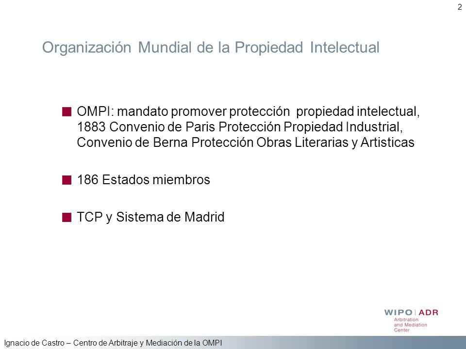 Ignacio de Castro – Centro de Arbitraje y Mediación de la OMPI 2 Organización Mundial de la Propiedad Intelectual OMPI: mandato promover protección pr