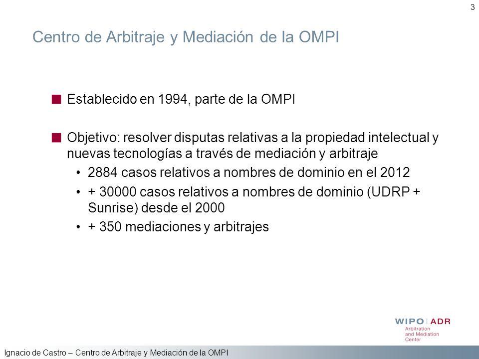 Ignacio de Castro – Centro de Arbitraje y Mediación de la OMPI 3 Centro de Arbitraje y Mediación de la OMPI Establecido en 1994, parte de la OMPI Obje