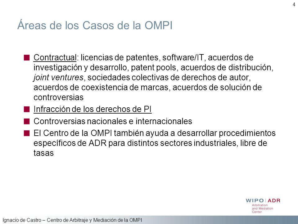 Ignacio de Castro – Centro de Arbitraje y Mediación de la OMPI 4 Áreas de los Casos de la OMPI Contractual: licencias de patentes, software/IT, acuerd