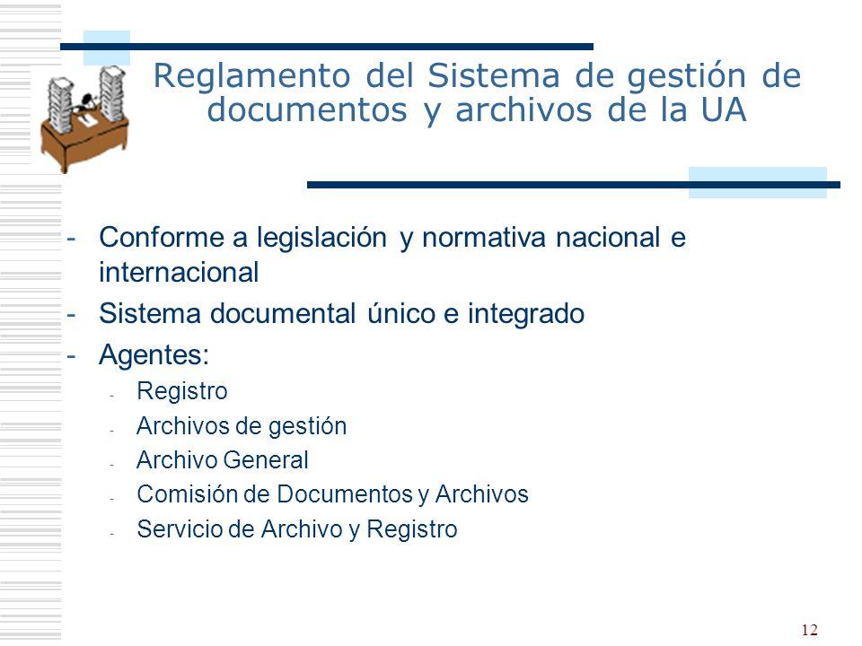 12 Reglamento del Sistema de gestión de documentos y archivos de la UA -Conforme a legislación y normativa nacional e internacional -Sistema documenta