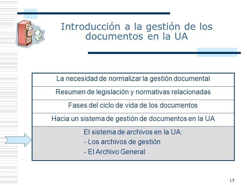 16 Los archivos de gestión Conjunto de documentos y expedientes ubicados en las diferentes servicios y unidades académicas y administrativas, producidos o reunidos en el ejercicio de sus funciones y actividades, y que se utilizan para la tramitación y la referencia de sus actuaciones.