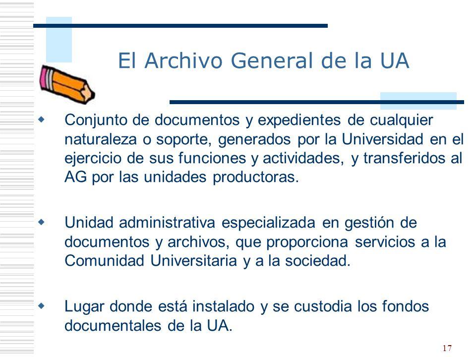 17 El Archivo General de la UA Conjunto de documentos y expedientes de cualquier naturaleza o soporte, generados por la Universidad en el ejercicio de