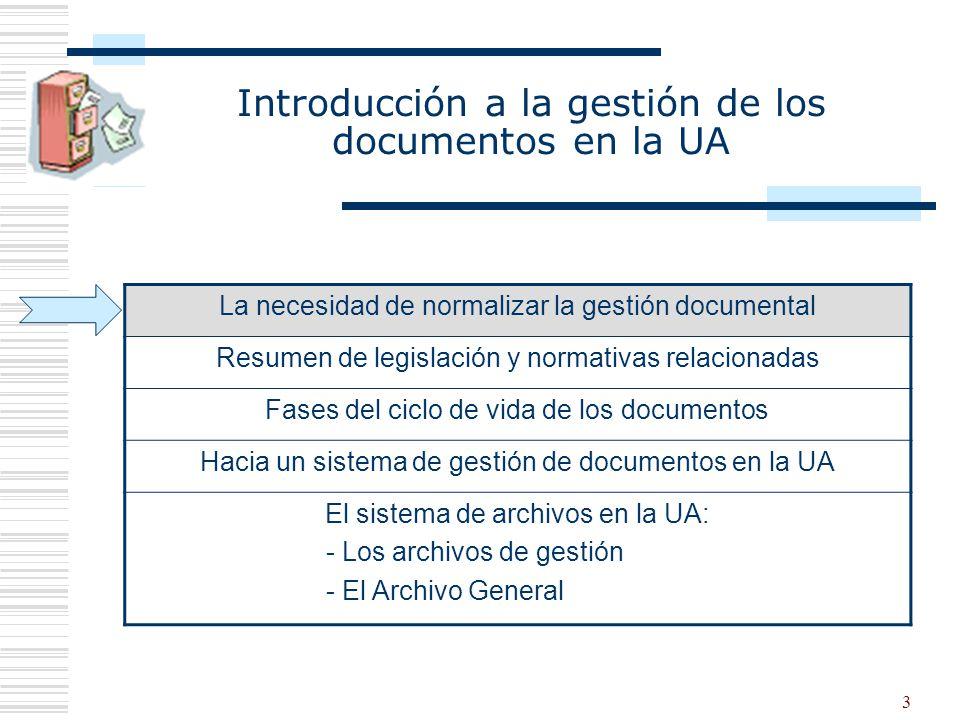 3 Introducción a la gestión de los documentos en la UA La necesidad de normalizar la gestión documental Resumen de legislación y normativas relacionad