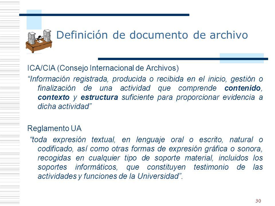 30 Definición de documento de archivo ICA/CIA (Consejo Internacional de Archivos) Información registrada, producida o recibida en el inicio, gestión o