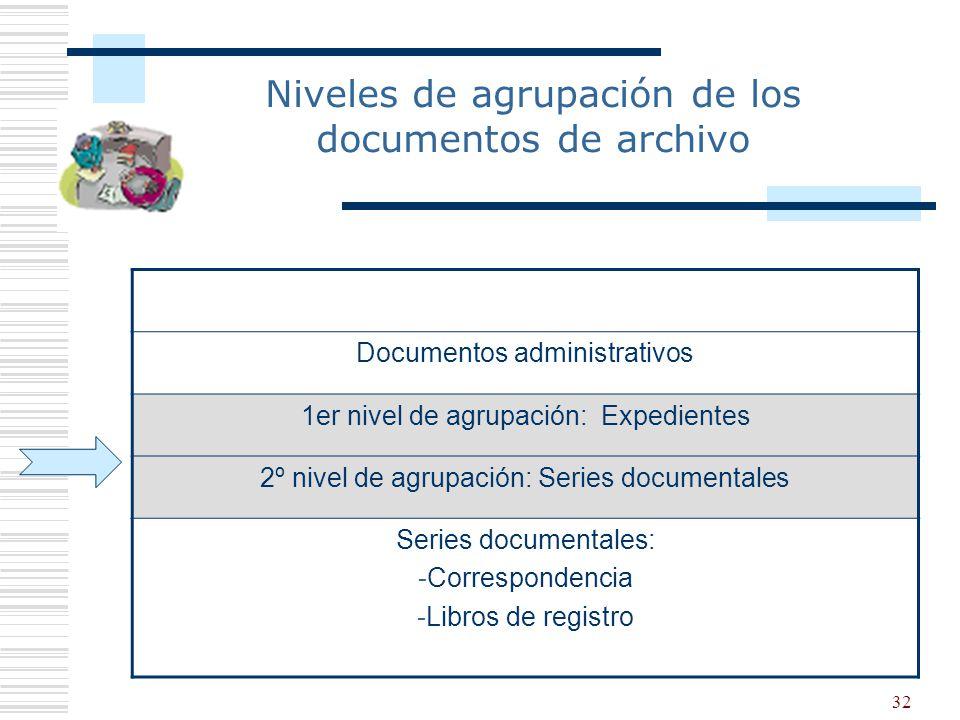 32 Documentos administrativos 1er nivel de agrupación: Expedientes 2º nivel de agrupación: Series documentales Series documentales: -Correspondencia -