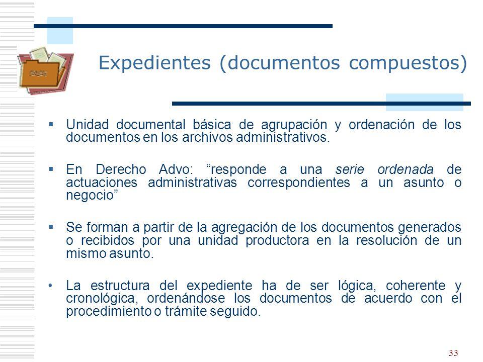 33 Expedientes (documentos compuestos) Unidad documental básica de agrupación y ordenación de los documentos en los archivos administrativos. En Derec