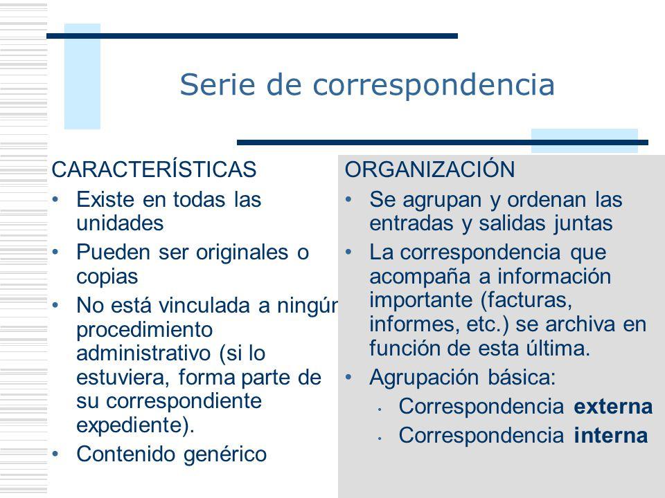 36 Serie de correspondencia CARACTERÍSTICAS Existe en todas las unidades Pueden ser originales o copias No está vinculada a ningún procedimiento admin
