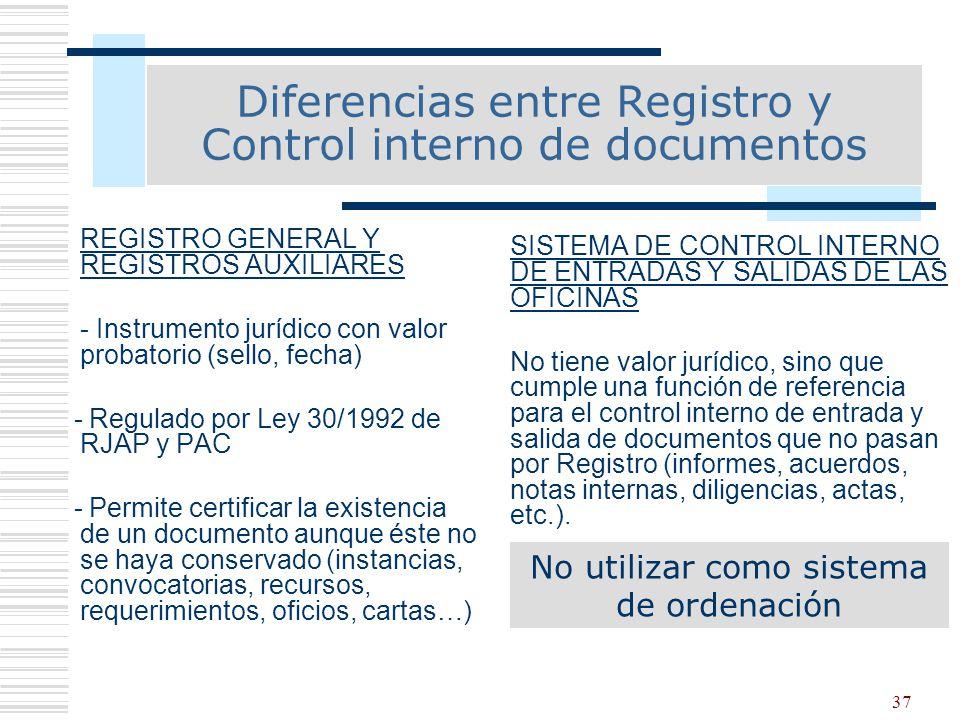 37 REGISTRO GENERAL Y REGISTROS AUXILIARES - Instrumento jurídico con valor probatorio (sello, fecha) - Regulado por Ley 30/1992 de RJAP y PAC - Permi