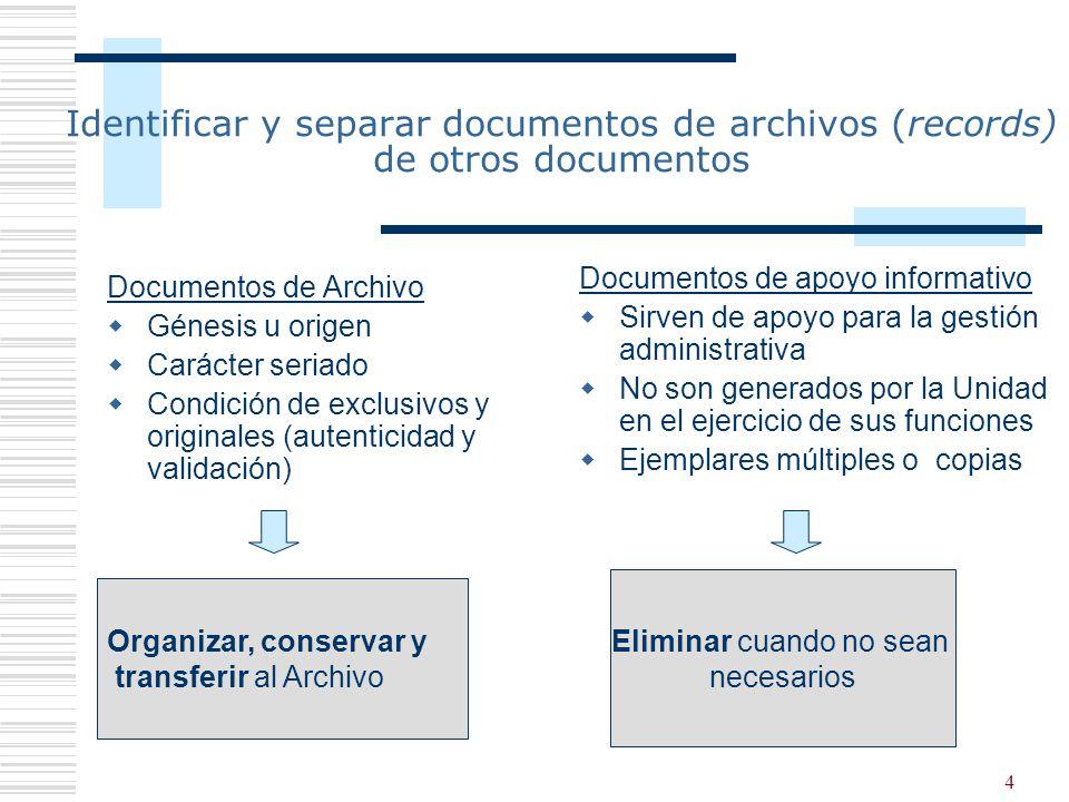 4 Identificar y separar documentos de archivos (records) de otros documentos Documentos de Archivo Génesis u origen Carácter seriado Condición de excl