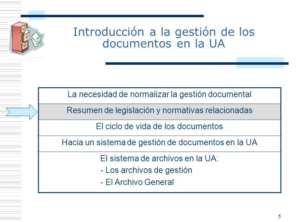 5 Introducción a la gestión de los documentos en la UA La necesidad de normalizar la gestión documental Resumen de legislación y normativas relacionad