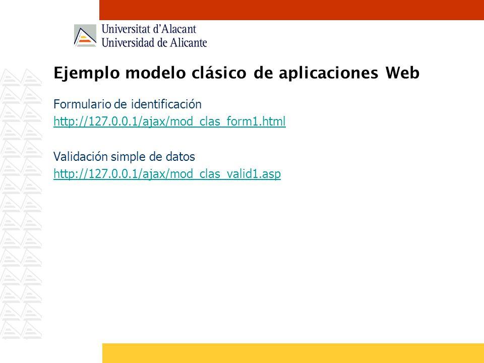 Ejemplo modelo clásico de aplicaciones Web Formulario de identificación http://127.0.0.1/ajax/mod_clas_form1.html Validación simple de datos http://12