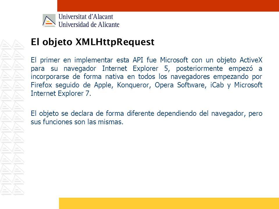 El objeto XMLHttpRequest El primer en implementar esta API fue Microsoft con un objeto ActiveX para su navegador Internet Explorer 5, posteriormente e