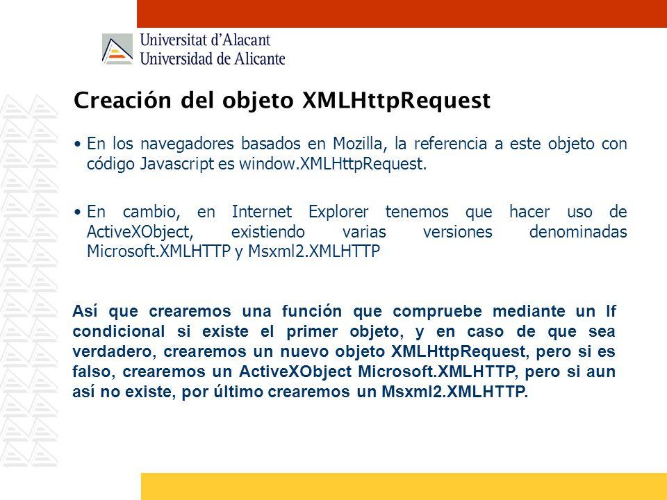 Creación del objeto XMLHttpRequest En los navegadores basados en Mozilla, la referencia a este objeto con código Javascript es window.XMLHttpRequest.