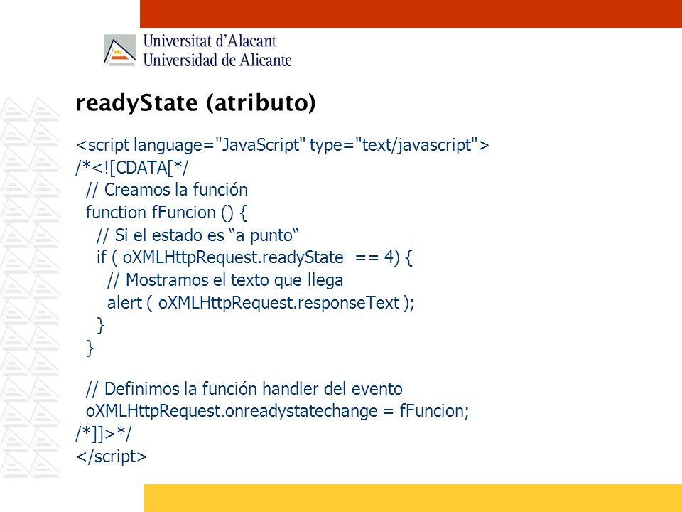 readyState (atributo) /*<![CDATA[*/ // Creamos la función function fFuncion () { // Si el estado es a punto if ( oXMLHttpRequest.readyState == 4) { //