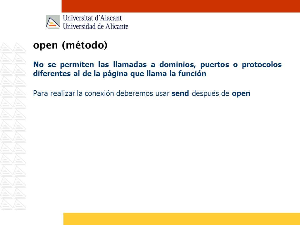 open (método) No se permiten las llamadas a dominios, puertos o protocolos diferentes al de la página que llama la función Para realizar la conexión d