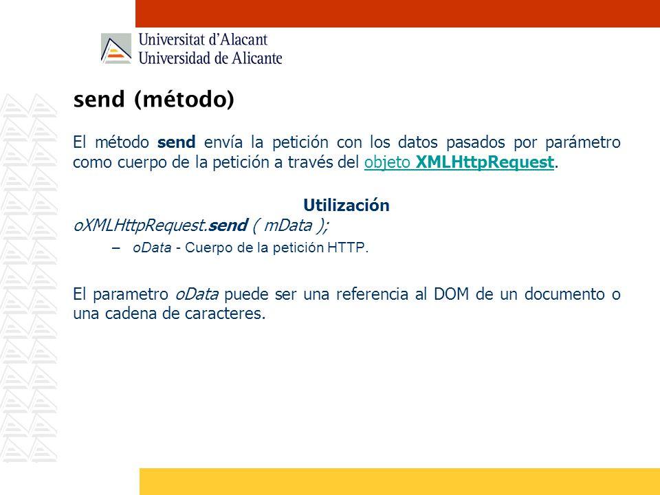 send (método) El método send envía la petición con los datos pasados por parámetro como cuerpo de la petición a través del objeto XMLHttpRequest.objet