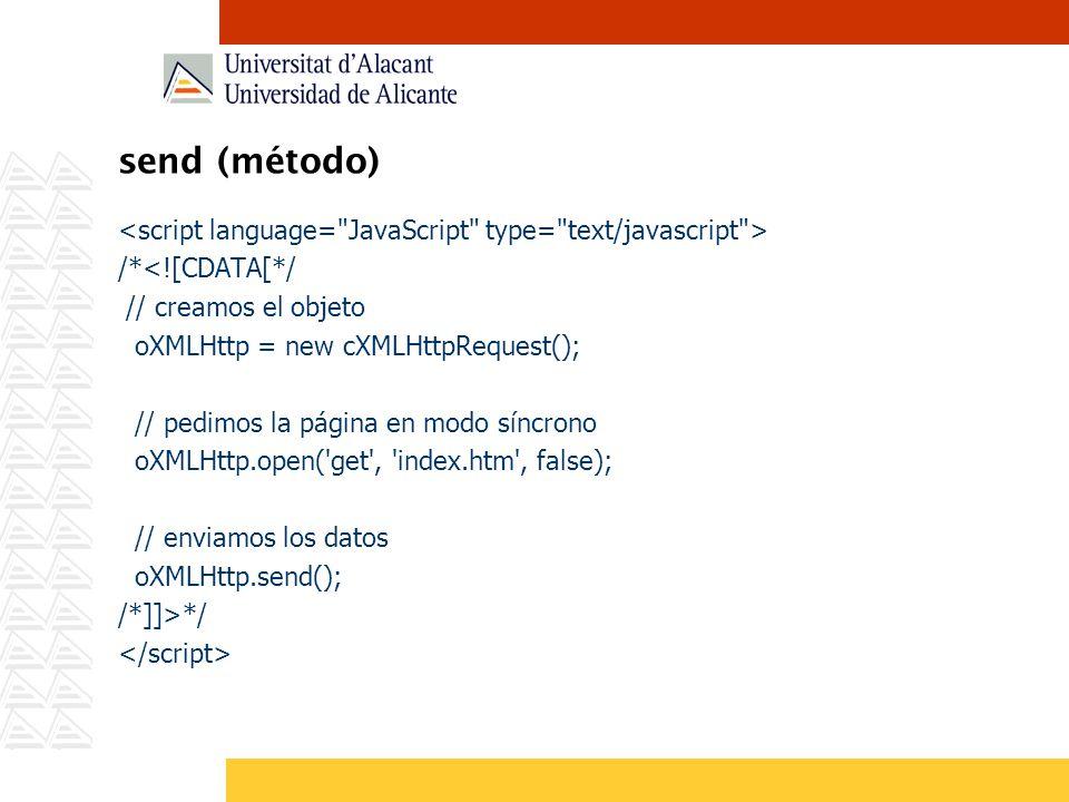 send (método) /*<![CDATA[*/ // creamos el objeto oXMLHttp = new cXMLHttpRequest(); // pedimos la página en modo síncrono oXMLHttp.open('get', 'index.h