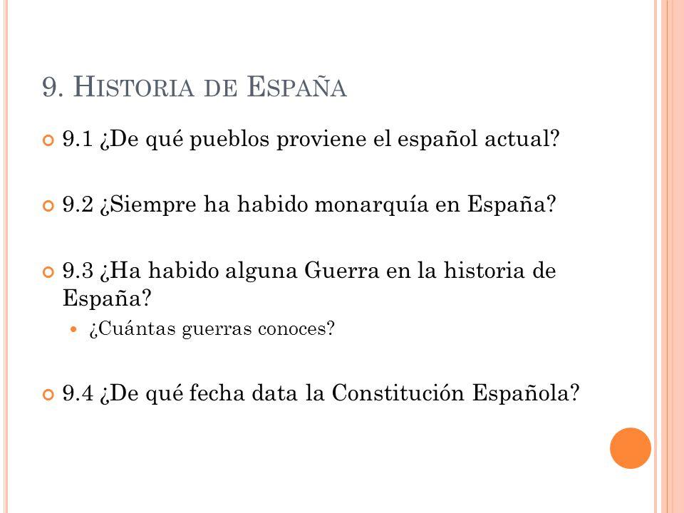 9. H ISTORIA DE E SPAÑA 9.1 ¿De qué pueblos proviene el español actual? 9.2 ¿Siempre ha habido monarquía en España? 9.3 ¿Ha habido alguna Guerra en la